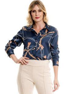 Camisa Bisô Selaria Feminino - Feminino-Azul