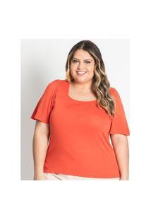Blusa Feminina Plus Size Decote Quadrado Secret Laranja