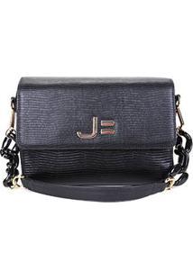 Bolsa Couro Jorge Bischoff Mini Bag Lezard Croco Feminina - Feminino-Chumbo