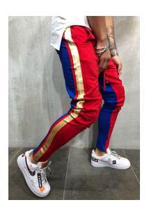 Calça Masculina Slim Striped Duas Cores - Vermelho E Azul