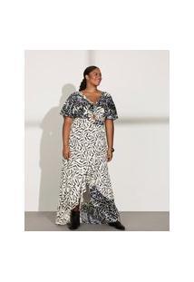 Vestido Almaria Plus Size Pianeta Longo Estampado Off-White