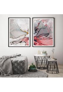 Quadro Com Moldura Chanfrada Abstrato Vermelho Grande - Multicolorido - Dafiti