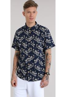 Camisa Estampada De Horizonte Azul Marinho