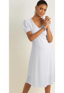 Vestido Com Decote V E Manga Bufante Branco