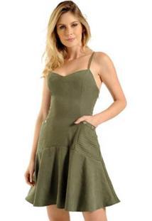 Vestido Curto Estilo K Antonela - Feminino-Verde Militar