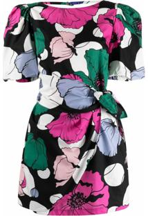 Gina Vestido Envelope Com Estampa Floral - Preto