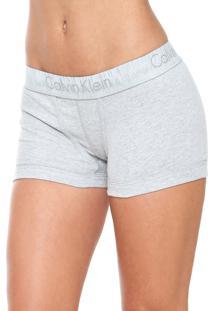 Calcinha Calvin Klein Underwear Boxer Logo Cinza