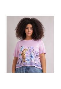 Camiseta Cropped De Moletinho Plus Size Estampada Natureza Manga Curta Decote Redondo Lilás