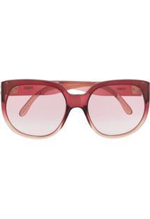 Fendi Eyewear Óculos De Sol Oversized Com Lentes Em Degradê - Vermelho