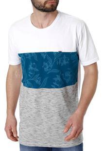 Camiseta Manga Curta Masculina Branco/Azul