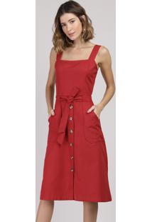 Vestido Feminino Midi Com Bolsos Alça Larga Vermelho
