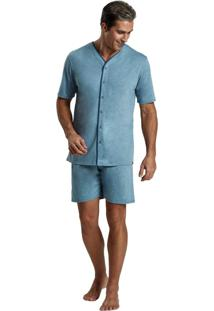 Pijama Recco Aberto Mescla Comfort Azul
