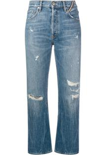 Jean Atelier Cropped Distressed Jeans - Azul