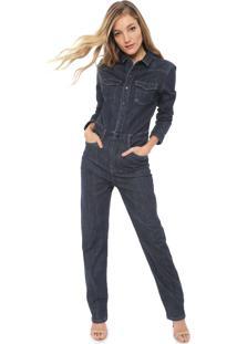 Macacão Utilitário Jeans Carmim Slim Wall Street Azul