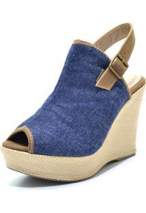 Sandália Anabela Iza Tonelli Jeans Salto Em Juta E Fechamento No Tornozelo Azul