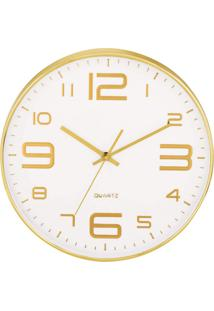 Relógio De Parede Rort Branco E Dourado