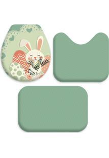 Jogo Tapetes Love Decor Wevans Para Banheiro Páscoa Coelho Cute Verde