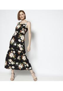 Vestido Floral Com Recorte - Preto & Verde - Vip Resvip Reserva