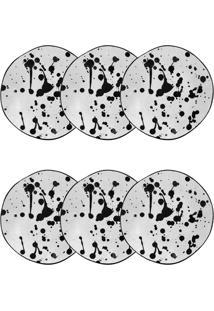 Conjunto De Pratos Fundos Oxford Art Ryo Porcelana 6 Peças 22.5Cm