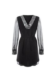 Vestido Georgette Embroidery Dress Manga Longa - Preto