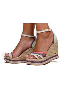 Sandália Anabela Plataforma Cores Moda Sb Shoes Ref.3268 Off/Roxo