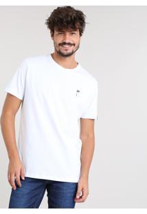 Camiseta Masculina Com Estampa Tropical Manga Curta Gola Careca Branca