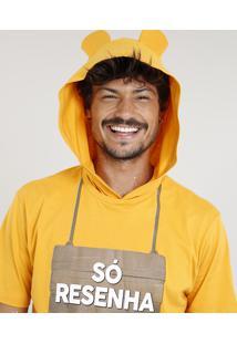 """Camiseta Masculina Carnaval Ursinho """"Só Resenha"""" Com Capuz De Orelhinhas Manga Curta Amarela"""