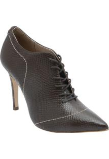 Ankle Boot Em Couro- Marrom Escuro- Salto: 11Cm-Jorge Bischoff