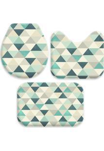 Jogo Tapetes Love Decor Para Banheiro Triângulos Verdes Único - Kanui