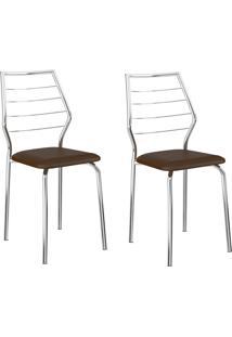 Kit 2 Cadeiras 1716 Cacau/Cromado - Carraro Móveis