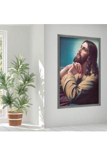 Quadro Love Decor Com Moldura Sagrado Jesus Grafitti Metalizado Grande