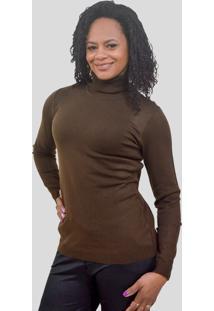 Blusa Modal Gola Rolê Tomasini Tricot Outono/Inverno 2020 Marrom