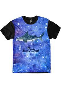 Camiseta Long Beach S Aquarela Tuburão Sublimada Masculina - Masculino