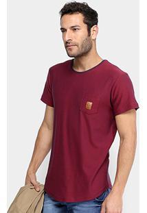 Camiseta Rg 518 Bicolor Bolso Patch Couro Masculina - Masculino-Bordô