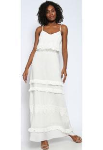 7594f1f7e Vestido Babado Guipir feminino | Shoelover