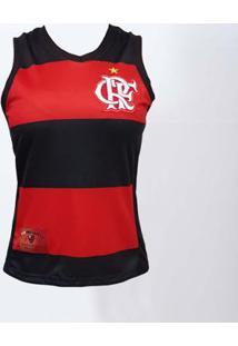 Regata Flamengo Decote V Hoop Crf Braziline Feminina - Feminino-Preto+Vermelho