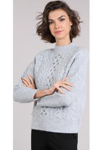 CEA. Suéter Feminino Cinza Gola Alta Tom Claro Com Manga Longa ... b8a933b977489