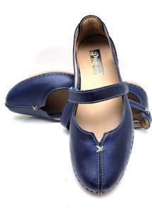 Sapatilha Feminina Drilean Em Couro Com Palmilha Em Gel - Velcro Azul