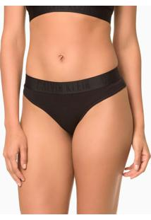 Calcinha Tanga Black Cotton - Preto - S