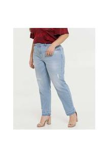 Calça Plus Size Feminina Mom Jeans Puídos Marisa