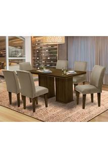 Mesa Para Sala De Jantar Com 6 Cadeiras Amsterdam – Dobuê Movelaria - Castanho / Mascavo