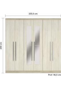 Guarda Roupa Casal Com Espelhos, 6 Portas E 3 Gavetas Internas Miami Siena Móveis Avelã Rústico/Ártico Rústico
