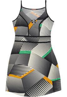 Vestido Curto Estampa Geométrica Verde