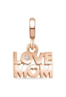 Pingente Life Lov Mom Com Banho Ouro Rosé