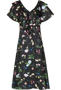 Paper London Vestido Meva Com Estampa Floral E Babados - Preto