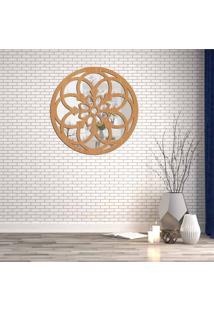 Escultura De Parede Wevans Mandala, Madeira + Espelho Decorativo