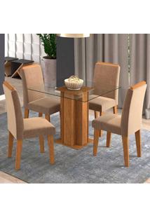 Conjunto De 4 Cadeiras Para Sala De Jantar 100X100C/ Moldura Sophia/Milena-Cimol - Savana / Pluma