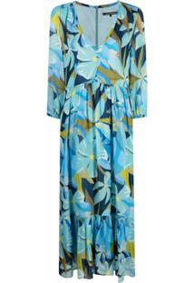 Luisa Cerano Vestido Com Estampa Floral - Azul
