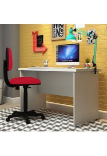 Conjunto Para Escritório Com Mesa Slim E Cadeira Executiva Super Pop Siena Móveis Branco/Vermelho