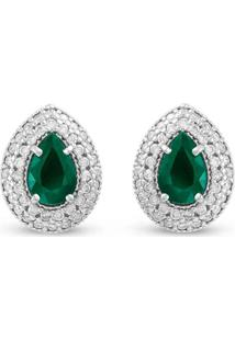 Brinco Ouro Branco Diamantes E Esmeraldas